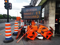 Road Signs Galore (Exile on Ontario St) Tags: montreal roadwork chantier travaux road work roadworks queenmary ndg notredamedegrce works pancartes pancarte notre dame grace grce sign signs affiche affiches menatwork travail ouvrier notredamedegrace ponsard cones oranges cne cnes cone trottoir sidewalk messy montral queen mary construction site ferm closed detour detours dcarie boulevard decarie orangecones cneorange temporary conditions