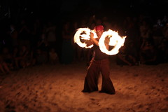 Fire Twirling (Steven Hessler) Tags: firetwirling poi miamibeachfullmoondrumcircle north shore open space park fire twirling august2016 stevenhessler canon60d lunar sturgeon full moon monthly meet group drum circle miami beach dragon staff