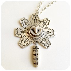 Barn Owl Pendant. Owl is by artist Laura Mears, the pendant was created by me. Handmade Navajo stamps.