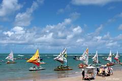 Porto de Galinhas-PE (Carlos Amorim (Camorim10)) Tags: porto de galinas ipojuca jangadas mar azul céu verde água núvens cores colorido
