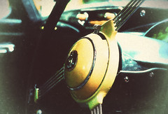 Dad's Wheel - HSS! (Sarah Fraser63) Tags: sliderssunday sunbeamtalbot steeringwheel vintagecar classiccars