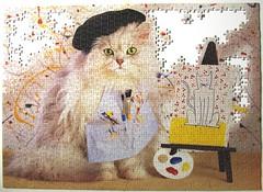 Die Knstlerkatze / The Cat Artist (Leonisha) Tags: puzzle jigsawpuzzle unfinished