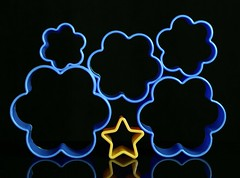 A Star among the Clouds (Karen_Chappell) Tags: blue black yellow star cloud shape shapes stilllife abstract toy