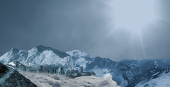 Matte Painting - Snow Mountains (Alex France) Tags: blue sun white snow night painting day range matte
