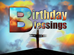 Birthday Blessings - Colorful Clouds Cross