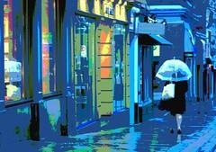 "Umbrella 1 (""Jimmer"" ( http://jim-vance.pixels.com )) Tags: city rain poster posterized kingstonontariocanada"