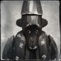 2/11/13 Portrait of a Monkey (Karol A Olson) Tags: wood monkey creepy fez iphone feb13 hipstamatic project3652013