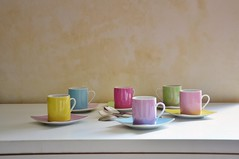 Espresso for 6 (Tinina67) Tags: pink blue friends green cup tasse yellow cafe pastel violet rosa kaffee plate lila tina espresso colourful spoons kaffeeklatsch einladung tinina67