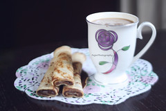(Fajer Alajmi) Tags: white black green cup coffee paper purple chocolate crepe mug nutella cocoa crepes