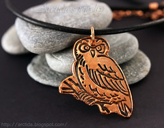 Owl necklace. Solid copper owl pendant on leather cord. Handmade pagan style jewelry by Arctida. (Arctida) Tags: autumn winter wedding wild summer brown cute bird fall texture nature beautiful fashion metal modern forest woodland design necklace vegan spring women europe pretty sweden stockholm handmade witch contemporary unique crafts rich adorable rusty style jewelry tribal jewellery trends gifts clay owl bridesmaid metalwork copper handcrafted casual accessories sverige organic chic etsy spiritual boho viking ethnic pure biology eco wicca witchcraft bohemian deity artisan pendant scandinavian whimsical amulet pagan primitive asymmetric handforged arctida