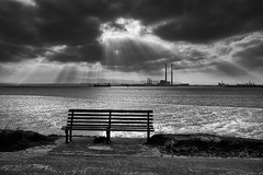 take a seat (zip po) Tags: ireland light sea blackandwhite dublin monochrome clouds bench photography mono photo lowtide pigeonhouse zippo clontarf bullwall utata:project=tw357