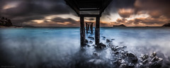 Broken Pier (tmo-photo) Tags: ocean longexposure travel sunset nature coral outdoors hawaii pier boat dock rocks pacific fav50 oahu fav20 panoramic fav30 fav10 fav40 rabbitheadisland