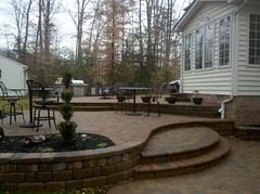 After - 3 tiered patio with steps and walls (The Sharper Cut Landscapes) Tags: landscaping steps maryland patio paver retainingwall charlescounty landscapedesign seatwall porttobacco bullnose countrymanor entertainmentarea londoncobble landscapecompany belgardhardscapes