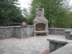 "Outdoor living area with fireplace and Green Egg cook top • <a style=""font-size:0.8em;"" href=""http://www.flickr.com/photos/22274533@N08/8512555870/"" target=""_blank"">View on Flickr</a>"