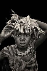 Mursi Girl, Ethiopia (Rod Waddington) Tags: africa portrait white black traditional decoration tribal omovalley ethiopia tribe mursi ethiopian jinka