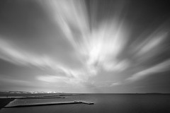 A study of time and motion...... (Chrisconphoto) Tags: longexposure blackandwhite bw motion marina liverpool movement jetty le wirral westkirby weldingglass
