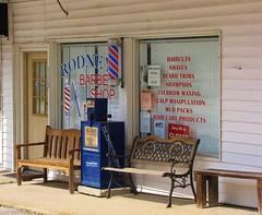 Rodney's Barber Shop (Gerry Dincher) Tags: northcarolina bladenboro bladencounty barbershop rodneysbarbershop railroadstreet benches fayettevilleobserver haircuts shaves beardtrims shampoos eyebrowwaxing scalpmanipulation mudpacks haircareproducts gerrydincher