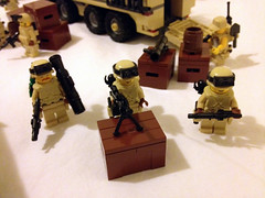 The other side of the checkpoint (jskaare) Tags: soldier tank desert lego military camouflage bradley custom humvee hmmwv m1a2 abrams moc drone m1a1