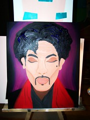 Working on another Prince Portrait (Bettina J. von Schneyder) Tags: portrait painting studio acrylic von prince candycane johanna bettina schneyder