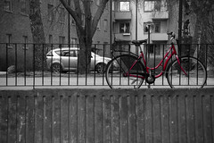 The red bike (DavidAndersson) Tags: city red blackandwhite colour monochrome bike fence sweden selective vnersborg tamron18200f3563