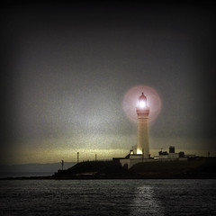 light at night, and in the rain (prajpix) Tags: light sea lighthouse night photoshop islands coast orkney manipulation scapa graemsay