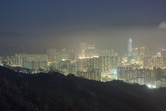 Night in Hong Kong (Carl Gabrielsson) Tags: mist fog night clouds lights evening sam south peak hong kong chi wan overlooking yi tsing heung tsuen