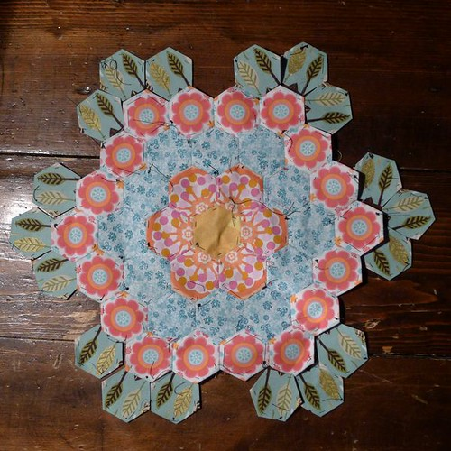 English Paper pieced Hexagon Footstool 1