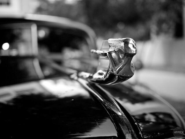 blackandwhite austin classiccar texas hoodornament 1937cadillacfleetwood
