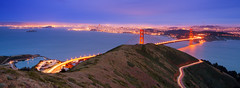 Slacker Hill (v on life) Tags: sanfrancisco california sunset panorama dusk pano panoramic goldengatebridge bluehour marinheadlands lighttrail slackerhill