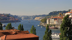 Porto view (Una S) Tags: street city bridge portugal river boat europe view rooftops porto shore