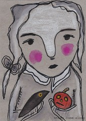 Aceo Original Painting Drawing Girl Holding A Crow & Pumpkin (They Come Along) Tags: aceo aceoart miniatureart painting drawing coloredpencils watercolorpaint ink myart girlart ebay mixedmedia pumpkin halloween autumn fall