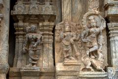 Warrior, dancer and woman holding child (VinayakH) Tags: talakad karnataka india temple hindu chola gangadynasty hoysala carvings vaidyeshvara kirtinarayana