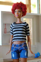 Fab Fringe (Emily1957) Tags: fabfringe barbie mattel fashion blackdoll stripes jeans cutoffs redhair dolls doll toys toy light naturallight nikond40 nikon kitlens