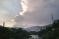 Orient and Occident (Nuuttipukki) Tags: orient occident mostar sunset river view mosque church croatian bosnian muslim christian bosnia hercegovina herzegowina