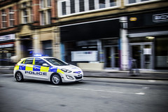 In a hurry (tootdood) Tags: canon70d stevenson square manchester hurry flashing blue lights police car street