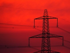 Electric Sunset (DaveKav) Tags: red sunset dusk pylon electric power powerful lincoln lincolnshire