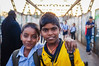 MUMBAI, INDIA - 12 JANUARY 2015: Indian school boys in Dharavi slum (Oakseed) Tags: asia asian bombay boy bridge cheerful child education friendship happy india indian kid male mumbai outdoor portrait posing poverty school smile street sunset together uniform youth
