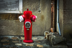 Old red fire pump (Rayoflightbe) Tags: normandi travel normandy granville fire pump urban architecture