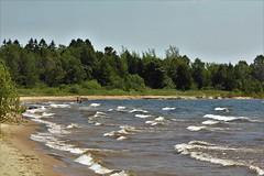 Going Natural (Jan Nagalski) Tags: lake waves lakemichigan sandy naturalsandbeach beach manistique michigan upperpeninsula summer sheltered shelteredbeach deserted jannagalski jannagal trees green blue