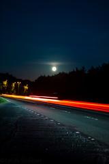 Stop and Watch (Sandy Sharples) Tags: harvestmoon fullmoon light lighttrail highway september moon nightsky nightlights nightscape england
