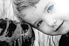old blue eyes (johnsinclair8888) Tags: eyes beauty bw baby blue photoshop face art noiretblanc teeth blackandwhite nikon d750 105mm macro sigma