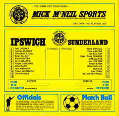 Ipswich Town vs Sunderland - 1976 - Back Cover Page (The Sky Strikers) Tags: ipswich town sunderland portman road football league division one official match day magazine 15p