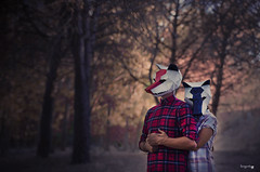 11.Wild love (Lara García Corrales) Tags: wolf animal wild love people mask paperfolding cardboard paper forest nature pine trees shirt
