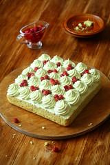 Pistachio and Wild Strawberry Cake (iuda) Tags: cake pistachio baking bake bakery patisserie pastry sweet dessert delicious cream rustic professional food strawberry strawberries compote jam jelly foodphotography foodphoto sugar sponge spongecake stilllife