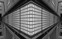 bus station (chrisinplymouth) Tags: symmetry symmetrical mirrorart digital art photoshop cw69x monochrome grayscale
