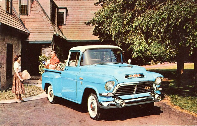 truck postcard pickup 1957 gmc