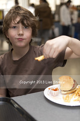 Cafeteria Lunch (Lisa-S) Tags: portrait ontario canada eating burger lisas fries owen cafeteria invited osc ontariosciencecentre 5215 flickropen copyright2013lisastokes getty2013 getty20130402