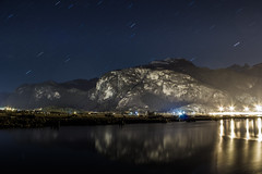 Stars Over Stawamus (5 mins) (Karsten Klawitter) Tags: longexposure easter march estuary climbing granite howesound april rockclimbing squamish startrails stawamuschief thespit 2013 easter2013 easterclimbingtrip icantbelieveweclimbedthechiefinmarch