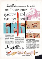 maybelline eye make up ad (CapricornOneVintage) Tags: vintage makeup 1950s 1958 eyeshadow eyebrows eyeliner eyemakeup maybelline vintagead redbookmagazine vintagemagazinead