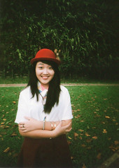 nicole (deepsleepdarling) Tags: red film girl moose bowlerhat agfa400 superheadz superfatlens